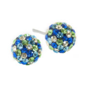 Sterling Silver Blue & Green Crystal Ball Stud Earrings