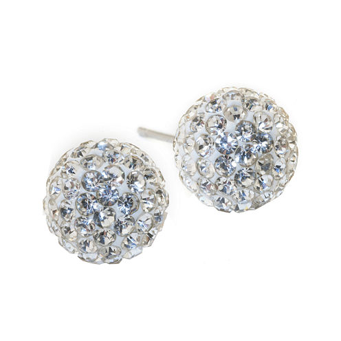 Silver Treasures Crystal Stud Earrings
