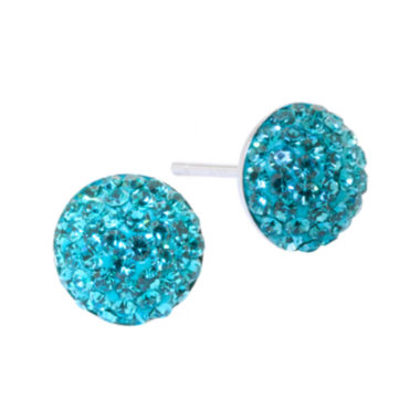 jcpenney.com | Sterling Silver Aqua Blue Crystal Button Stud Earrings