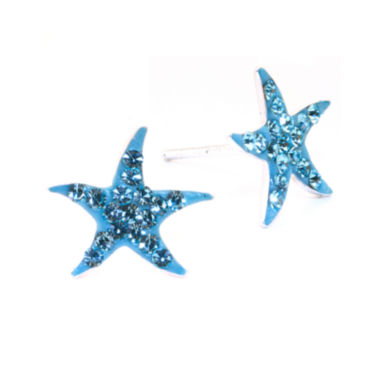 jcpenney.com | Silver Treasures Crystal Starfish Stud Earrings