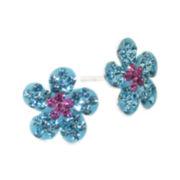 Sterling Silver Floral Crystal Stud Earrings