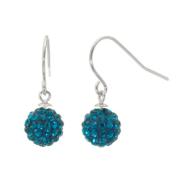 jcpenney.com | Sterling Silver Aqua Blue Crystal Ball Drop Earrings