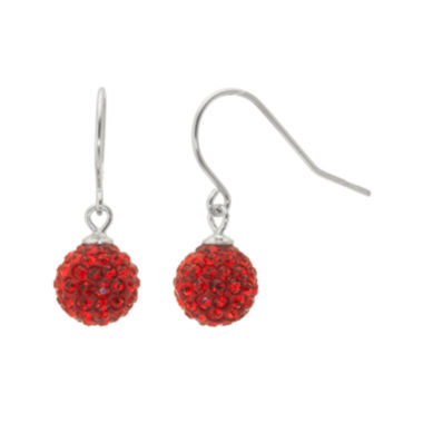 jcpenney.com | Sterling Silver Red Crystal Ball Drop Earrings