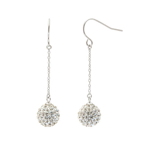 Silver Treasures Crystal Drop Earrings