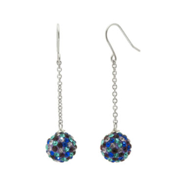 jcpenney.com | Sterling Silver Blue & Purple Crystal Ball Linear Drop Earrings