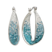 Sterling Silver Crystal Hoop Earring