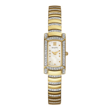 jcpenney.com | Bulova® Womens Crystal-Accent Gold-Tone Stainless Steel Bracelet Watch 98L204