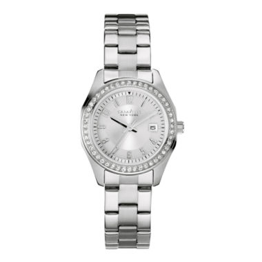 jcpenney.com | Caravelle New York® Womens Crystal-Accent Stainless Steel Bracelet Watch 43M108