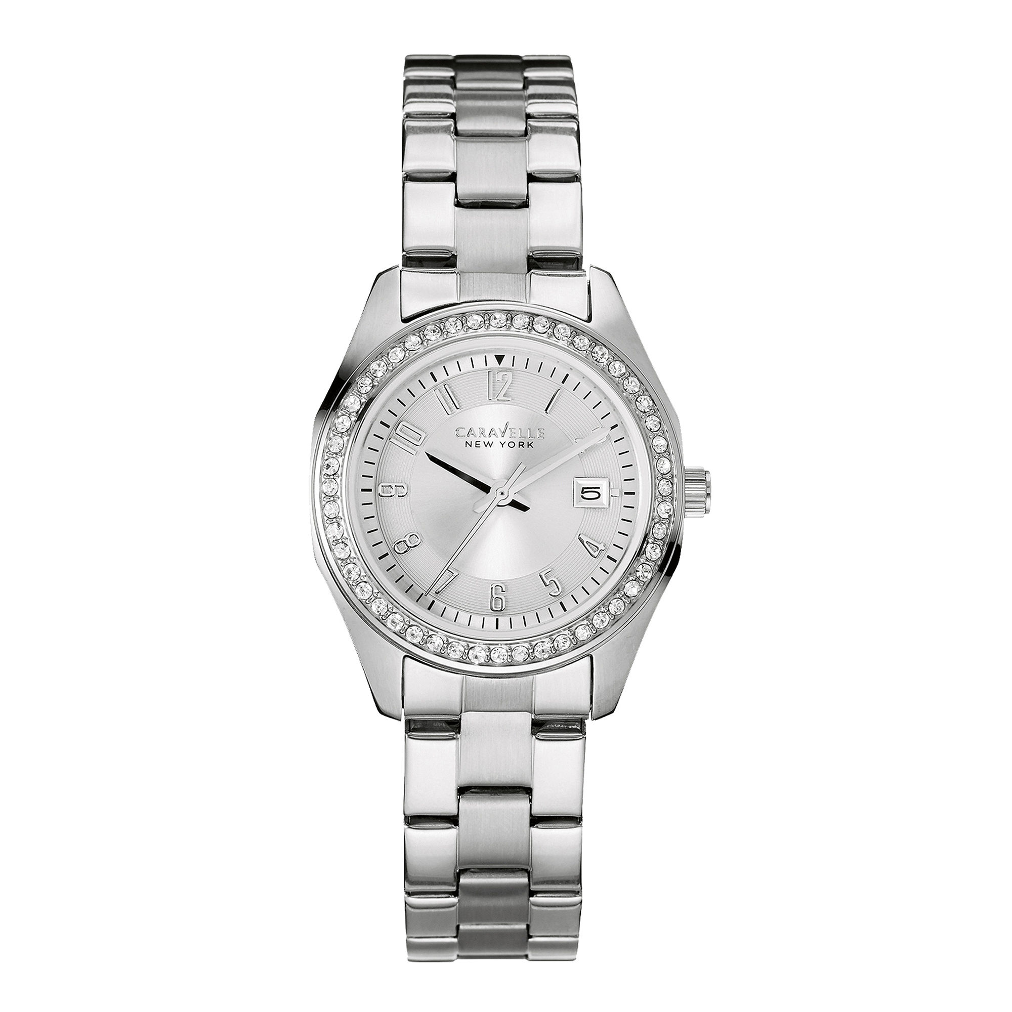 Caravelle New York Womens Crystal-Accent Stainless Steel Bracelet Watch 43M108