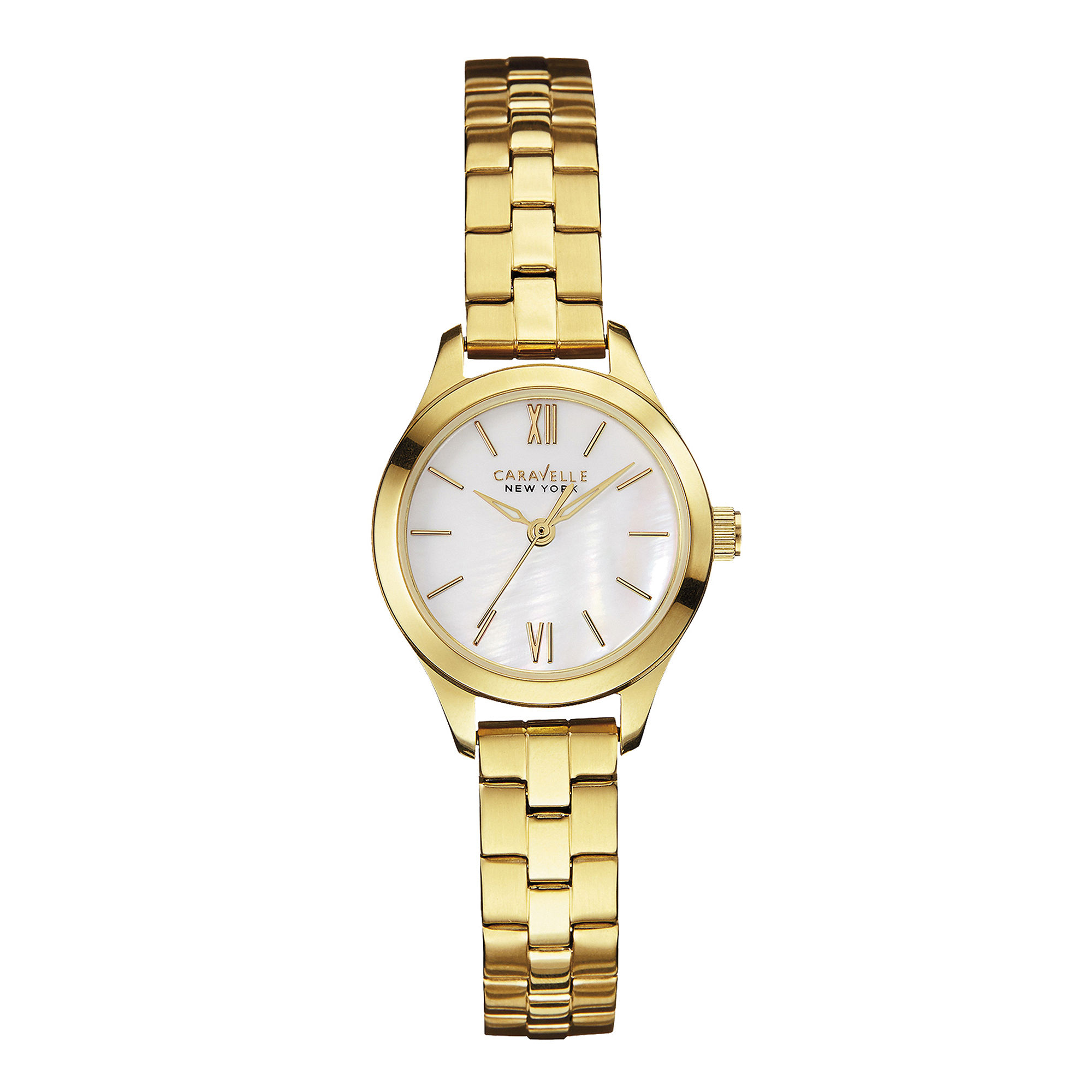 Caravelle New York Womens Mother-of-Pearl Gold-Tone Stainless Watch 44L155