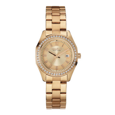 jcpenney.com | Caravelle New York® Womens Crystal-Accent Rose-Tone Stainless Steel Watch 44M103