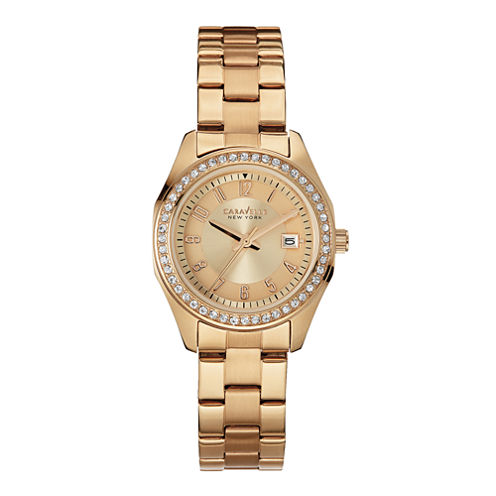 Caravelle New York® Womens Crystal-Accent Rose-Tone Stainless Steel Watch 44M103