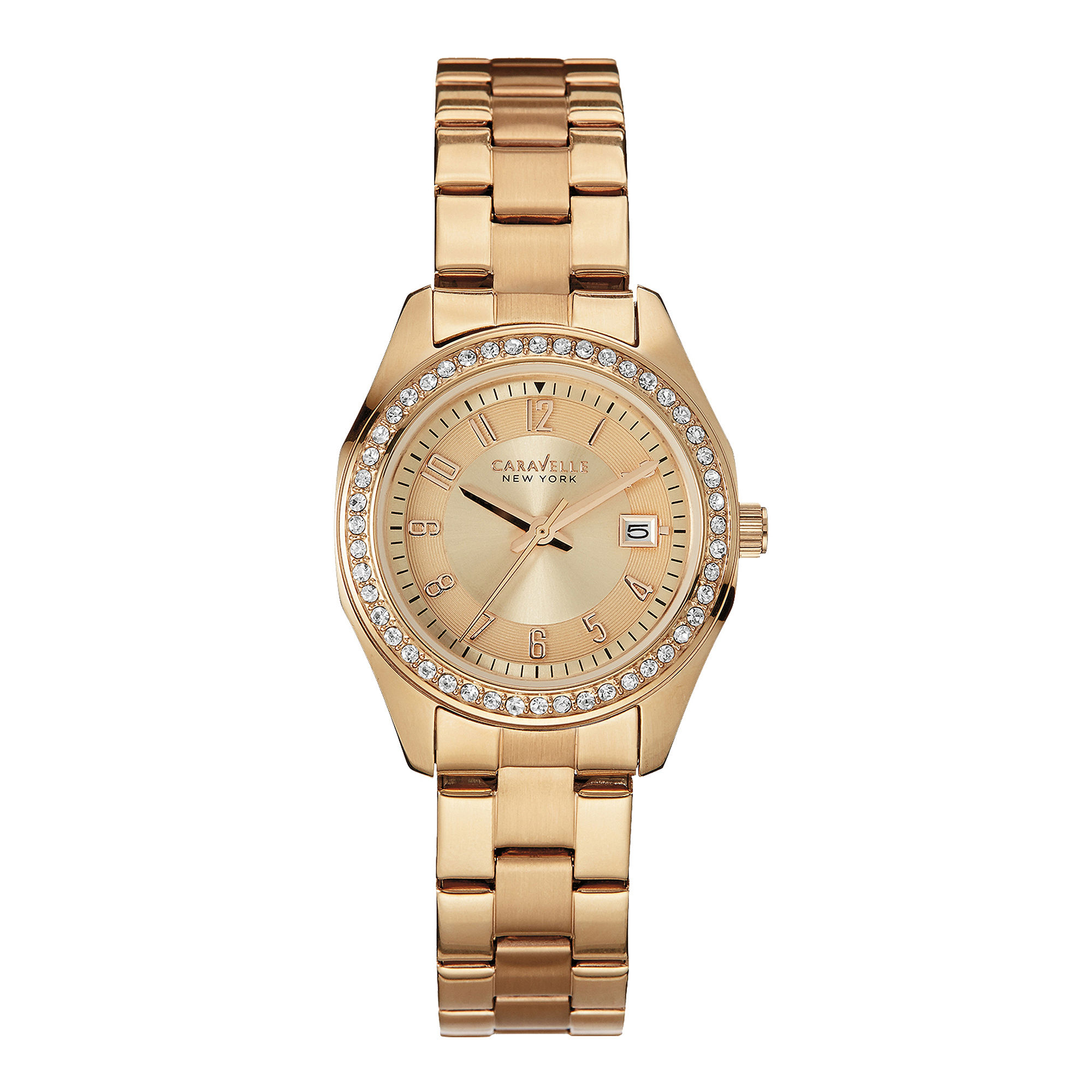 Caravelle New York Womens Crystal-Accent Rose-Tone Stainless Steel Watch 44M103