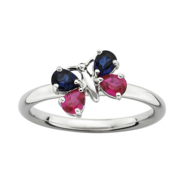 jcpenney.com | Personally Stackable Lab-Created Ruby and Blue Sapphire Butterfly Ring