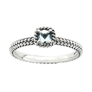 jcpenney.com | Personally Stackable Checker-Cut Genuine Aquamarine Ring