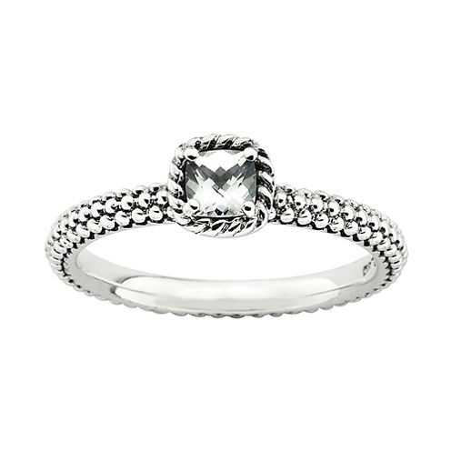 Personally Stackable Checker-Cut Genuine White Topaz Ring