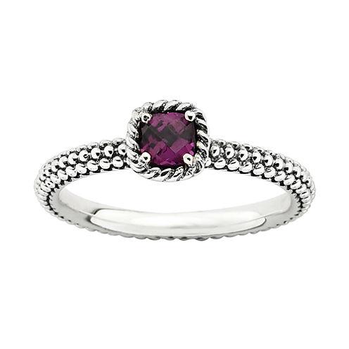 Personally Stackable Checker-Cut Genuine Rhodolite Ring