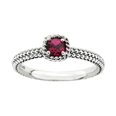 jcpenney.com | Personally Stackable Checker-Cut Lab-Created Ruby Ring