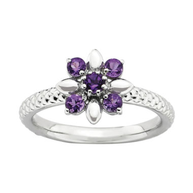 jcpenney.com | Personally Stackable Genuine Amethyst Flower Ring