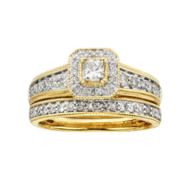 jcpenney.com | 1 CT. T.W. Certified Diamond 14K Yellow Gold Bridal Ring Set