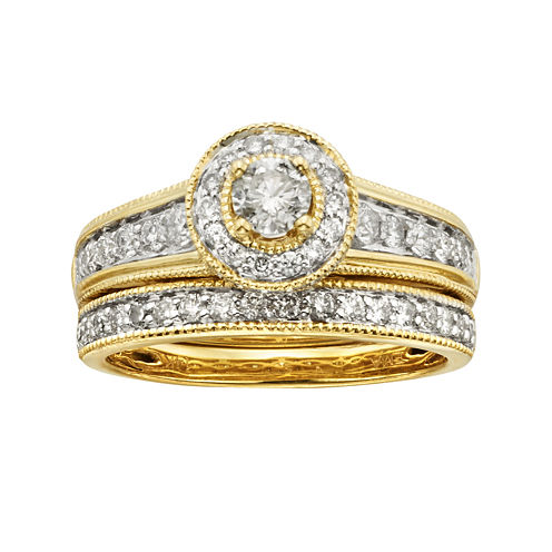 tw certified diamond 14k yellow gold bridal ring set - Jcpenney Wedding Ring Sets