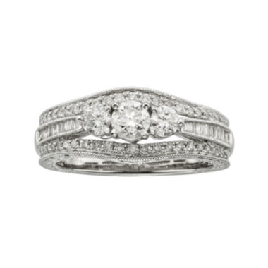 jcpenney.com | 1 CT. T.W. Certified Diamond 14K White Gold Vintage-Style 3-Stone Contour Bridal Ring