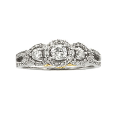 jcpenney.com | 1 CT. T.W. Certified Diamond 14K Two-Tone Gold 3-Stone Bridal Ring