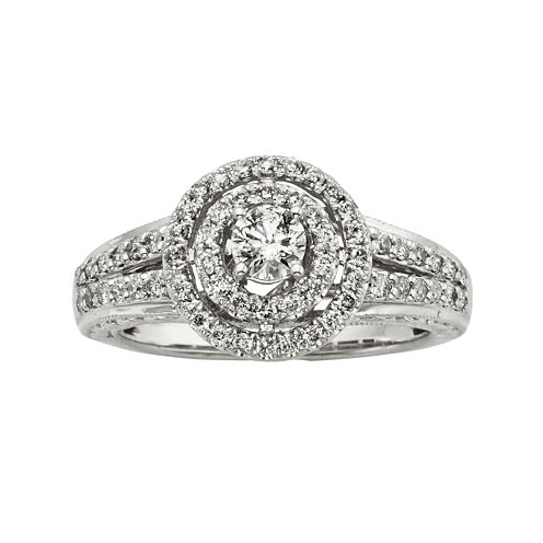 3/4 CT. T.W. Certified Diamond 14K White Gold Vintage-Style Twist Bridal Ring