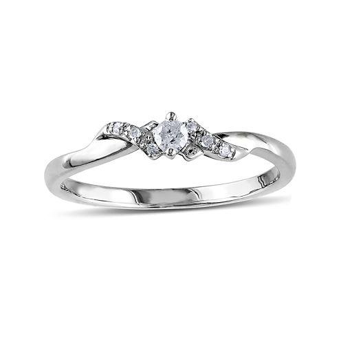 1/10 CT. T.W. Diamond 10K White Gold Bypass Bridal Ring