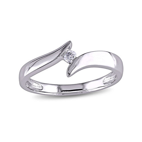 Diamond-Accent 10K White Gold Solitaire Bypass Promise Ring