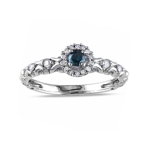 1/4 CT. T.W. White and Color-Enhanced Blue Diamond Sterling Silver Promise Ring