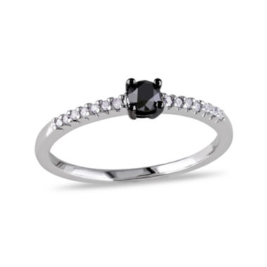 jcpenney.com | 1/4 C.T. T.W. White and Color-Enhanced Black Diamond 10K White Gold Promise Ring