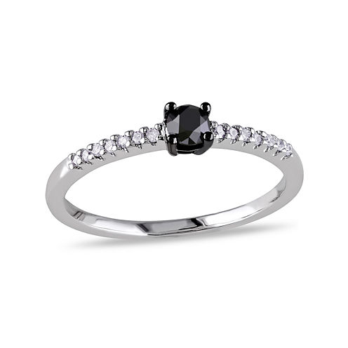 1/4 C.T. T.W. White and Color-Enhanced Black Diamond 10K White Gold Promise Ring