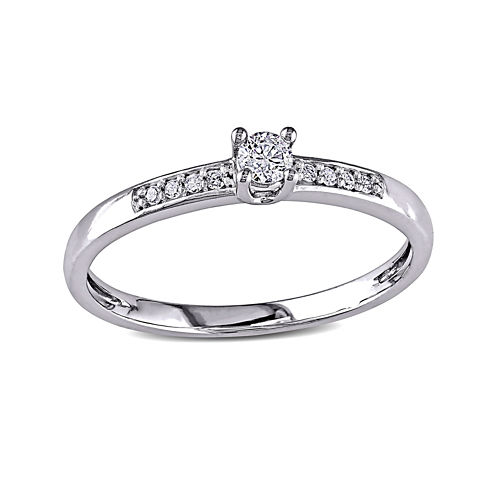 1/7 CT. T.W. Diamond 10K White Gold Promise Ring