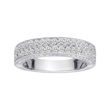 jcpenney.com | 1/2 CT. T.W. Certified Diamond 14K White Gold Vintage-Style Wedding Band