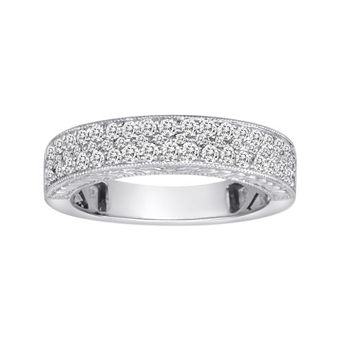 1/2 CT. T.W. Certified Diamond 14K White Gold Vintage-Style Wedding Band