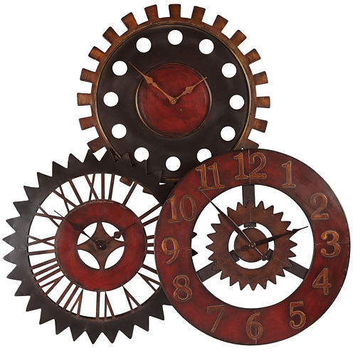 "Oversized 35.25"" Rusty Movement Metal Wall Clock"