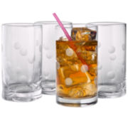 Polka Dot Set of 4 Highball Glasses