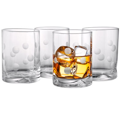 Polka Dot Set of 4 Double Old-Fashioned Glasses