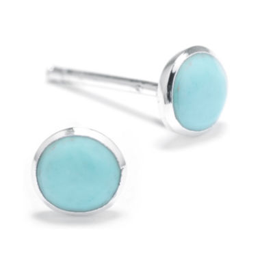 jcpenney.com | Simulated Turquoise Sterling Silver Round Stud Earrings