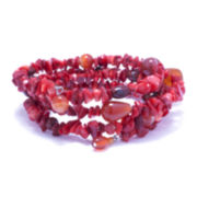 Dazzling Designs™ Genuine Dyed Carnelian and Simulated Jasper Bracelet