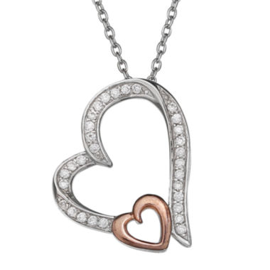 jcpenney.com | Silver Enchantment™ Cubic Zirconia Heart Pendant Necklace