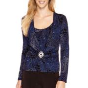 Blu Sage Long-Sleeve Paisley Glitter Blouse