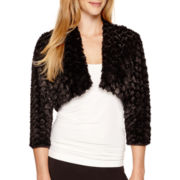 Blu Sage 3/4-Sleeve Faux-Fur Shrug