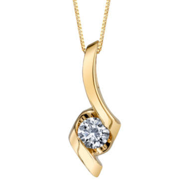 jcpenney.com | Sirena® 1/4 CT. Diamond Solitaire 14K Yellow Gold Pendant Necklace