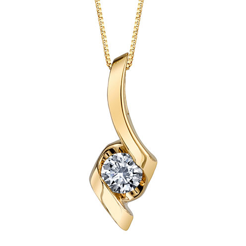 Sirena® 1/3 CT. Diamond Solitaire 14K Yellow Gold Pendant Necklace