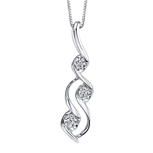 Sirena® 1/3 CT.  Diamond 14K White Gold Pendant Necklace