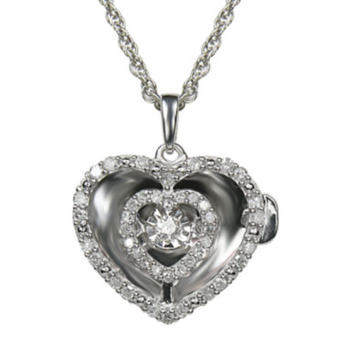 jcpenney.com | Love in Motion™ 1/4 CT. T.W. Diamond Sterling Silver Heart Locket Pendant Necklace