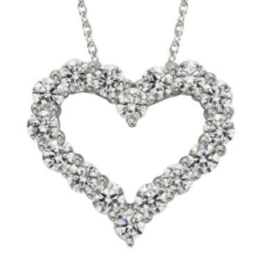 jcpenney.com | Diamonore™ 1-1/5 CT. T.W. Simulated Diamond Heart Pendant Necklace