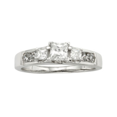 jcpenney.com | Diamonore™  7/8 CT. T.W. Simulated Diamond Princess-Cut 3-Stone Ring